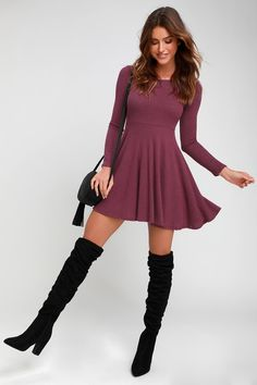 The Lulus Fit and Fair Mauve Purple Ribbed Knit Long Sleeve Skater Dress will have you looking cute as a button! dress Fit and Fair Mauve Purple Ribbed Knit Long Sleeve Skater Dress Casual Winter Outfits, Fall Outfits, Fashion Outfits, Casual Boots, Holiday Outfits, Women's Fashion, Cute Dresses, Short Dresses, Dresses With Sleeves
