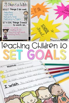 Goal Setting for Kids. A must-read post about teaching primary children to reflect on learning and set goals using the 3 stars and a wish activity. Includes 2 FREE printables to print and use in your classroom for assessment. setting for kids activities Primary Activities, Primary Teaching, Teaching Kids, Counseling Activities, Student Learning, Physical Activities, Geek Culture, Goal Setting For Students, Elementary Goal Setting