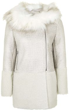 Womens cream contrast shearling coat by glamorous from Topshop - £105 at ClothingByColour.com