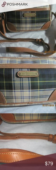 POLO RALPH LAUREN Plaid Canvas  amp  Leather Handbag This purse is used and  vintage. a664fb3a6ccae