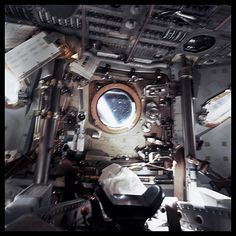 "005 Cabin of Command Module Gumdrop, Earth Beyond; Attributed to David Scott, Apollo 9, March 3-13, 1969 Digital c-print; 24.5""x24.5""; edition 50 Transparency NASA; digital image ©1999 Michael Light"