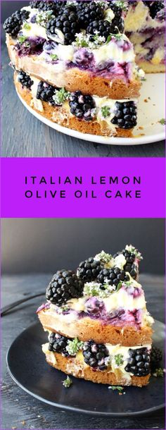 Italian Lemon Olive Oil Cake Recipe with Whipped Mascarpone, Blueberries, Blackberries and Lemon Curd | CiaoFlorentina.com @CiaoFlorentina