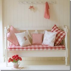 red and white gingham with pink for spring!
