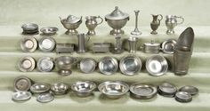 Miniature pewter collection Toy Kitchen, Miniature Furniture, Miniture Things, Old Toys, Antique Dolls, Dollhouse Miniatures, Pewter, Auction, Tableware