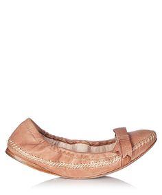 Light brown leather ballerina flats by Prada on secretsales.com