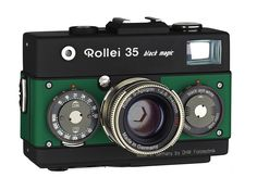 Rollei 35 Black Magic with Green and silver trim Old Cameras, Vintage Cameras, Camera Gear, Film Camera, Camera Lucida, Foto Fun, Photo Lens, Classic Camera, Camera Obscura