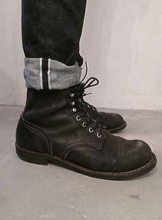 ✸This Old Stomping Ground✸ Red Wing Boots, Denim Boots, Jeans And Boots, Cuffed Jeans, Red Wing Iron Ranger, Basket Sneakers, Engineer Boots, La Mode Masculine, Mens Boots Fashion