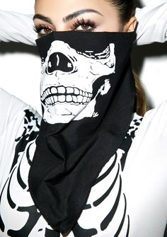 Ghost Ride Bandana yer givin' us a boner. Not hard to see why in this really awesome skeleton face bandana. Super soft, this babe will cover yer face up perfectly. Featurin' a really killer graphic of a skull face right on the front, we are sure yer bad to the bone!