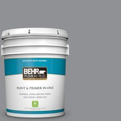 BEHR Premium Plus 5-gal. #N520-4 Cool Ashes Satin Enamel Interior Paint