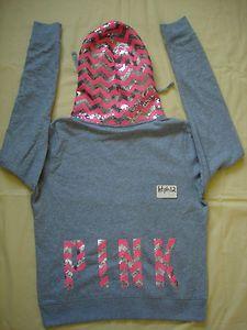 NWT Victoria's Secret Pink 2013 Sequins Limited Hoodie Sweatshirt L large Bling