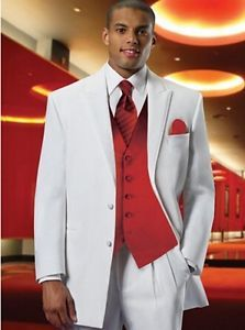 Formal White Groom Suits with Red Waistcoat Wedding Groomsmen Best Man Tuxedos