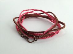 Brown Faux Suede and Pink Cotton Braided Bracelet on Etsy, $6.00