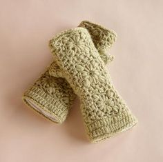 crocheted mitts