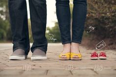 family baby announcement with shoes and year - Google Search