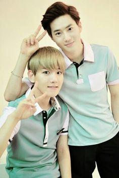 Baekhyun and Suho, Baek looks like a lil marshmallow ahhhhh ❤️❤️