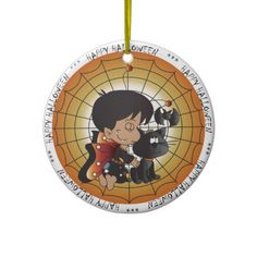 Halloween Vampire Boy.   Cute little vampire boy sitting on a web with his black cat and batty friend.  Look for more items in my store,  Designs by DonnaSiggy.  All graphic designs are copyrighted on my products. #Halloween  #ornament  #boy #pinoftheday #zazzle #gifts #trendy www.zazzle.com/designsbydonnasiggy?rf=238713599140281212