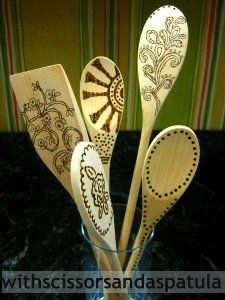 burned designed wood spoons - consider this project done