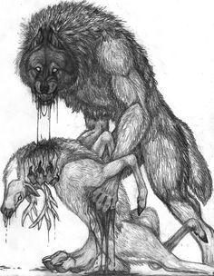 i started this a bit ago-lost it-found it again-then finished it . its koolaid anyhow, yes, a werewolf eating a d. Fantasy Creatures, Mythical Creatures, Werewolf Art, Vampires And Werewolves, Creatures Of The Night, Furry Art, Dark Art, Les Oeuvres, Fantasy Art