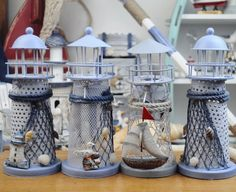 Free Shipping! Mediterranean Ocean Style Metal Lighthouse Shape Canlde Holder Lantern 4 mixed designs S size-in Candle Holders from Home & G...