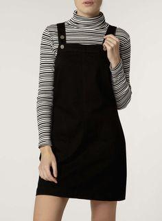 Black Denim Pinafore Dress - Dorothy Perkins