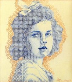 """""""Rosita"""", a portrait done in colour using blackwork techniques. This portrait is the creation of Maria del Valle. Maria worked the embroidery on hand dyed fabric, done over one thread with one strand of different colours of embroidery thread. You can see more of her work on her Pinterest page at http://www.pinterest.com/alarttex/my-embroidery/"""