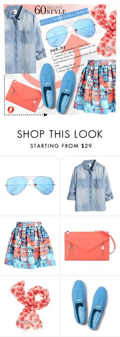 """60 Second Style: Aviator Sunglasses"" by katjuncica ❤ liked on Polyvore featuring Ray-Ban, H&M, Alice + Olivia, French Connection, Kate Spade, Keds, Jonathan Adler, women's clothing, women and female"