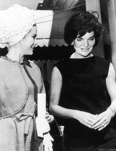 Jacqueline Kennedy welcomes Princess Grace of Monoco to the White House on May 24, 1961