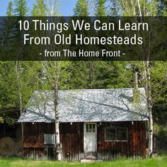 10 Things We Can Learn From Old Homesteads 1. running water source 2. Lots of wood on hand 3. durable building w/ available materials 4. way to provide warmth-cook for yourself 5/6/7. Plant strawberries/raspberries/rheubarb/apples 8.root cellar 9. utility 10. a bit of style for fun