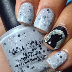 """Final swatch from @lavishpolish's Halloween Collection is ""Howling at the Moon"" - a gorgeous heather gray crelly with a white and black glitter mix ❤️ 2 coats, no top coat! Absolutely love this polish! Check out @lavishpolish for more information! Accent nail was painted with Kolinsky Sable No. 0000 detail brush from @winstonia_store and acrylic paint "" Photo taken by @nailedthepolish on Instagram, pinned via the InstaPin iOS App! http://www.instapinapp.com (10/17/2014)"
