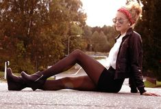 #leather #jacket #booties #headband