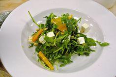 arugula salad with golden beets, pine nuts, and ricotta salata