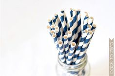 Paper Straw Striped  Navy Blue x 25 by BacktoZero on Etsy, $4.00