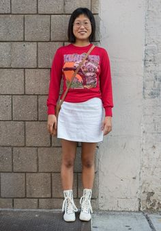 """New Trending Street Style: Maisie,25""""My kung fu shirt I purchased from the kids section of....  Maisie,25 """"My kung fu shirt I purchased from the kids section of a vintage store. Shoes are Puma. My inspiration changes constantly, but I recently quit my corporate job so I'm enjoying expressing my more youthful and casual side. I'm always drawn to color, print, and cool shoes. Currently..."""