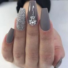 Gray Coffin Nails with Silver Accent and Rhinestones | Gray Nails