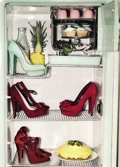 shoe fridge: cupcakes and heels: Who needs food?