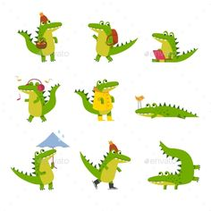 Buy Cartoon Crocodile in Every Day Activities by Happypictures on GraphicRiver. Cute cartoon crocodile in every day activities, colorful characters vector Illustrations isolated on a white background Crocodile Illustration, Children's Book Illustration, Character Illustration, Cute Animal Drawings, Cute Drawings, Crocodile Cartoon, Doodles, Pet Day, Cute Characters
