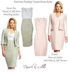 Damsel in a Dress Pumice flecked tweed dress suits in  pale pink. The Sweet Pea outfit comes in a soft green and blue tweed and silk combination.