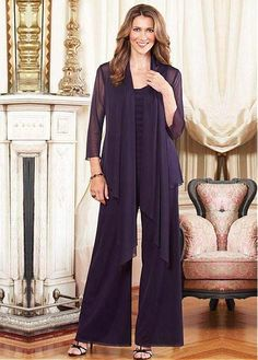 2015 Plus Size Mother Of The Bride Pant Suits With Jacket Purple Outfits Custom Made Chiffon Long Sleeve Mother Of The Groom Cocktail Dresses Online, Evening Dresses Online, Cheap Evening Dresses, Womens Cocktail Dresses, Evening Gowns, Dress Online, Evening Party, Mother Of The Bride Fashion, Mother Of The Bride Suits