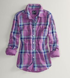 American Eagle Purple/Blue Flannel
