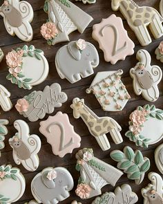 """Melissa's Instagram profile post: """"Two wild safari boho birthday! I wasn't sure how the heck I was gonna pull this together but these might be one of my all time favourite…"""" Baby Boy Cookies, Baby Shower Cookies, Royal Icing Sugar, Royal Icing Cookies, Fancy Cookies, Iced Cookies, Sugar Cookie Cakes, Paint Cookies, Baby Shower Desserts"""