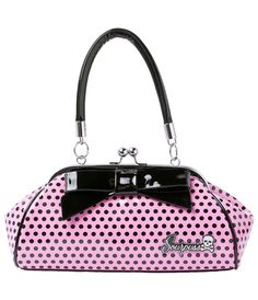 Pink & Black Polka Dot Floozy Purse #uniquevintage
