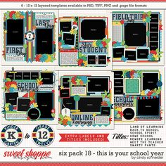 Cindy's Layered Templates - Six Pack 18: This is the School Year by Cindy Schneider Photo Drop, Scrapbook Templates, Digital Scrapbooking, Scrapbooking Ideas, Summer Is Here, Six Packs, Layout Template, School Spirit, Page Layout
