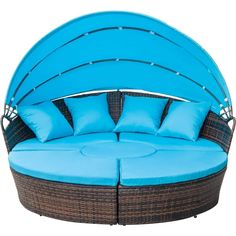 FLIEKS Leisure Zone Outdoor Patio Backyard Poolside Furniture Wicker Rattan Round Daybed with Retractable Canopy (Blue Cushion) Poolside Furniture, Outdoor Garden Furniture, Patio Furniture Sets, Furniture Ideas, Outdoor Decor, Rattan, Wicker, Round Beds, Outside Patio