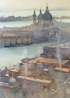 Santa Maria della Salute, Venice, Italy V by Keiko Tanabe Watercolor ~ 11 1/2 x 8 1/4 inches (29 x 21 cm)