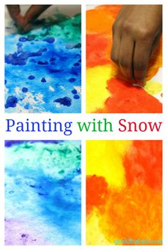 A perfect watercolor painting idea to try with kids. We used snow to paint these beautiful paintings!