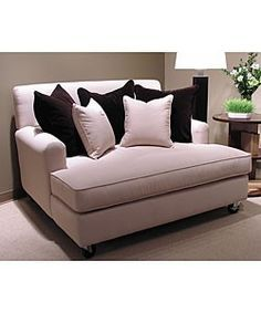 Billy Double Chaise Lounge Chair with Wheels on Overstock.com, $629.99; really love the deep couches and love seats- great for snuggling and movies, great for basements, dens, entertainment rooms, etc... (KLH) Now this is too cool. This is a movie night seat. NOT IN PINK