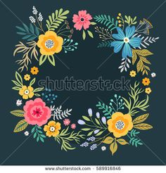 Floral wreath on dark blue background. Bright colorful flowers. Vector floral frame template. Cute colorful retro flowers arranged in the shape of a wreath. For invitations and greeting cards
