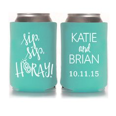 Personalized Wedding Koozies - Sip Sip Hooray Wedding Favors for Guests, Beach Wedding Can Cozies, Destination Wedding, Fall Wedding, Rustic Wedding