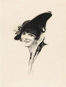 joseph clement coll | Joseph Clement Coll - Portrait Of A Woman With A Hat