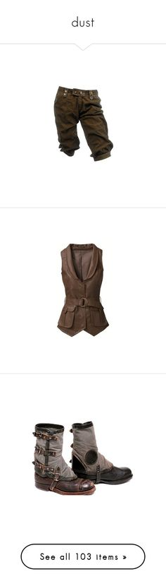 """""""dust"""" by waskits-n-breeches ❤ liked on Polyvore featuring pants, shorts, bottoms, steampunk, outerwear, vests, tops, jackets, brown vest and vest waistcoat"""